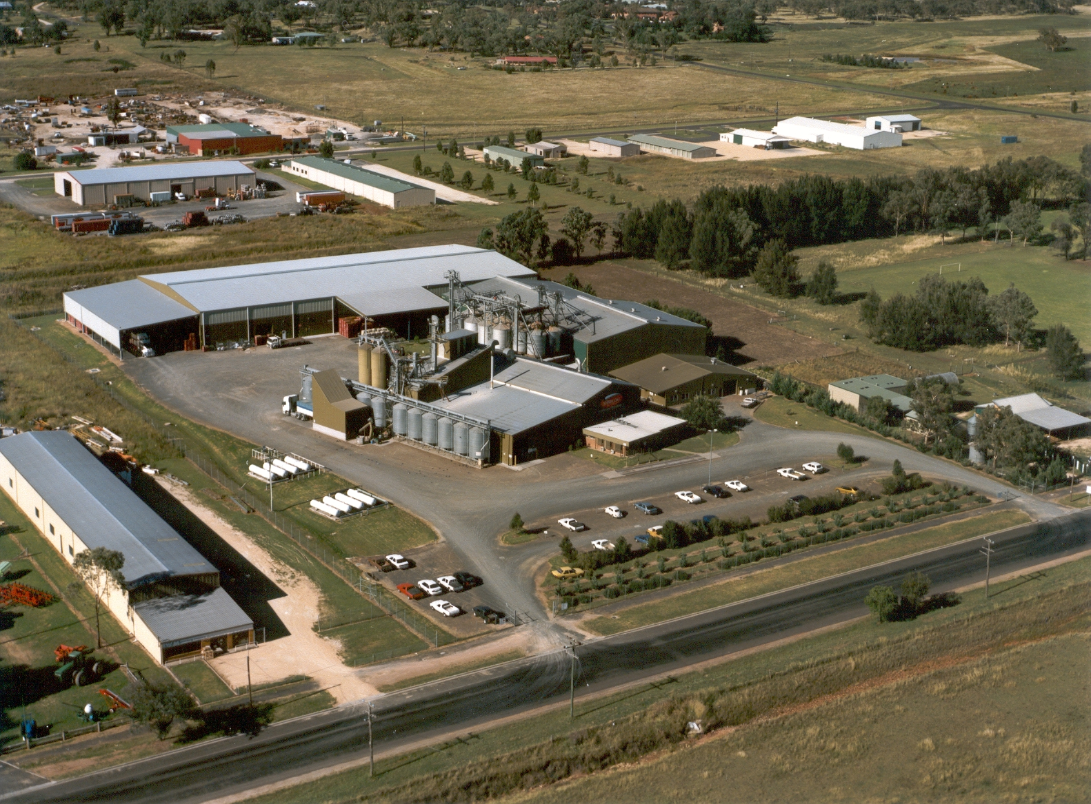 An aerial shot of the Inverell Manufacturing Facility, located in the northern NSW town of Inverell.