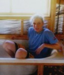 Under construction: Jessica Rogers sitting within the framework of her new bathroom.