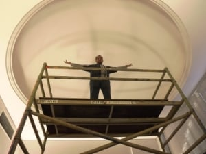 Jason Dimer takes in the scale of the blank dome prior to commencing work. Image courtesy of Jeanette Dimer.
