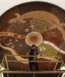 Kalgoorlie artist Jason Dimer with his completed artwork. Image courtesy of Jeanette Dimer.