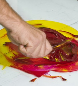 Getting the mix just right - Nathan Torzyn blending inks.