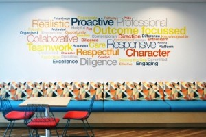 """IBA staff contributions to the """"word wall"""" at our National Office."""