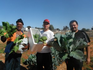 Wilcannia staff: [L:R] George Bugmy, Kev Jenkins and Robert Clayton. Image courtesy of Steve Ross.